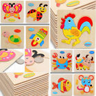 Hot Wooden Blocks Animals Kid Children Educational Toy Puzzle Cartoon For Baby
