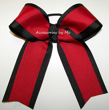 Red Black Ponytail Holder Ribbon Bow Girls Volleyball Softball Cheer Accessories