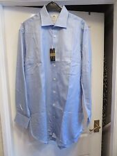 "HAWES & CURTIS Herringbone Blue Ludlow 2 Fold 100s Cotton Shirt 16""/41/86CM New"