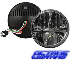 "7"" Motorcycle Black Chrome Black Daymaker HID LED Light Bulb H4 Headlight Harley"