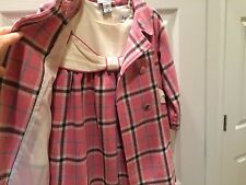 New Toddler girl Dress and Matching Coat pink plaid, cream, bow, so cute! 2T