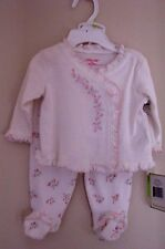 LITTLE ME 100% COTTON Dainty Rose 2 Piece Footed Pant Set Baby GIRL 3 Mth NWT