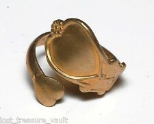 Vintage Spoon Ring OLd Raw Brass Metal Ladies Jewelry Decorative Heart Flower