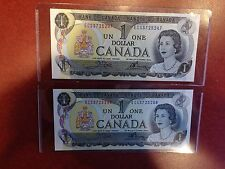 2,1973 Canada $1 Bills,Banknote,Crow-Bouey,Prefix *ECS*,Gem UNC.,Consecutive No.
