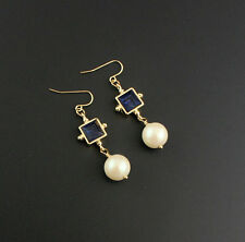 Fashion Gold Plated Blue Gem Pearl Hook Drop Earrings EH0946
