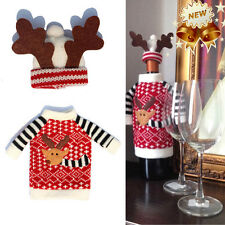 Holiday Wine Bottle Cover Xmas Deer Santa Bottle Cap Party Table Decoration Hot