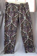 New J.CREW CITY FIT PANTS Multi-Color Paisley Print Stretch Size 10 NWOT
