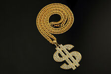 35 In 18K Fine Men Hip Hop Rhinestones Necklace Big Dollar Sign Money Pendant