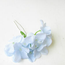 Large Light Pale Blue Hydrangea Flower Hair Pin Bridesmaid Blossom Floral 1989