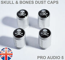 Silver Body Skull & Bones Dust Caps Skeleton Pirate Universal Car Van  - UK Post