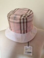 NWT BURBERRY NOVACHECK SIGNATURE BUCKET REVERSIBLE HAT $155 SIZE SMALL PINK