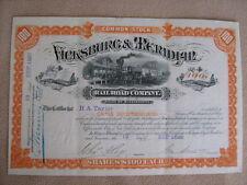 ORIG 1882 VICKSBURG & MERIDIAN RAILROAD STOCK CERTIFICATE