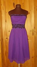MONSOON purple chiffon black bead strapless midi party cocktail dress 8 36Fusion