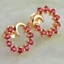 JE045 Ruby Topaz 18k Yellow Gold Plated Stud earrings for teen girls jewelry