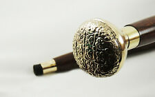 Walking stick top aluminum crafted woVINTAGEoden staff handmade collectible gift