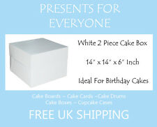 "1 x 14"" x 14"" x 6"" Inch White Cake Box Birthdays Weddings"