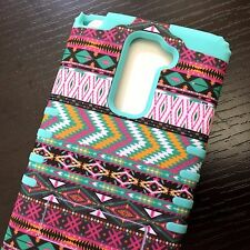 LG G Stylo 2 Plus MS550 HARD & SOFT RUBBER HYBRID CASE COVER PINK GREEN AZTEC