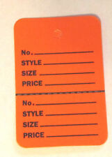 """300 ORANGE 2.75""""x1.75"""" Large Perforated Unstrung Price Consignment Store Tags"""