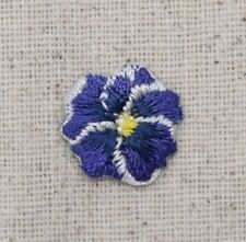 Iron On Embroidered Applique Patch Pansies Flower Small/Mini Pansy Purple