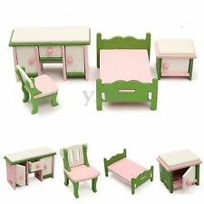 Doll House Miniature Bedroom Wooden Furniture Set Kids Families Role Play Toys