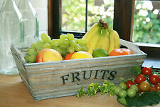 Wooden Fruit Trug Grey Washed Container Box Rustic Country French Crate
