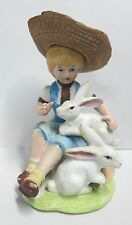 VINTAGE CERAMIC GIRL SITTING ON A LOG WITH BUNNIES PATCHOGUE FLORAL