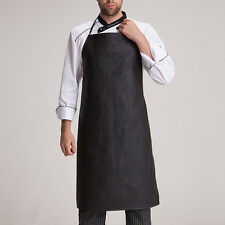New Men Faux Leather Bib Apron Waterproof Kitchen Restaurant Cooking Aprons