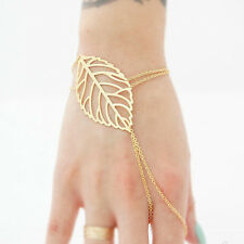 New Women Slave Chain Bracelet Hollow leaves And Finger Ring Party Gift