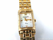 Raymond Weil Tango White Mother of Pearl 5970 18k Yellow Gold Rectangular Watch