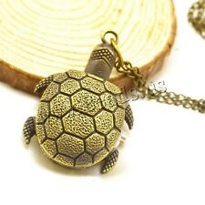 Retro Vintage Antique Bronze Quartz Necklace Pendant Turtle Pocket Watch Gift