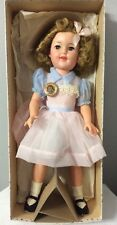 "VTG SHIRLEY TEMPLE DOLL W/ NYLON PINK AND BLUE PARTY DRESS - 17"" -  W/ Pin RARE"