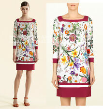$1,750 GUCCI DRESS ICONIC FLORA PRINT JERSEY BOATNECK sz IT 44 US 8