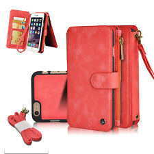 """Red Moveable Leather Zipper Wallet Multifunction Cover Case For iPhone 6 6s 4.7"""""""