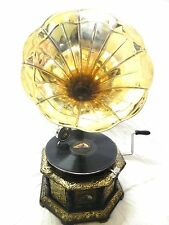 ANTIQUE OCTAGONAL GRAMOPHONE PHONOGRAPH CRAFTED MACHINE WITH BRASS PLAIN HORN