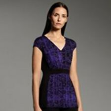 $48 Narciso Rodriguez for DesigNation Floral Shirred Top Purple Paperie XS