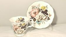 Royal Albert Big WHITE Rose Pink Blue Black Yellow Floral Bouquet Cup & Saucer