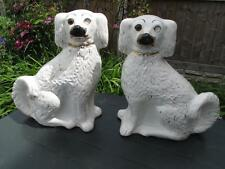 ANTIQUE STAFFORDSHIRE 19th PAIR GILT&WHITE WALLY DOG SPANIEL FIGURES  GLASS EYES