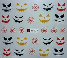 Nail Art Water Decals Stickers Halloween Scary Pumpkin Faces Gel Polish (A1-125)