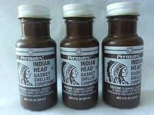 3x PERMATEX INDIAN HEAD GASKET SHELLAC COMPOUND 2OZ Bottle 20539