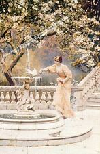 At The Fountain by Leonard C. Nightingale Artwork by Selby Prints