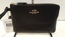 NWT! Coach Small Crossgrain Leather Black Corner Zip Wristlet Bag F54626