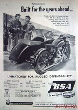 1953 Motor Cycle Combination ADVERT - B.S.A. '500 S.V. Model M.20' Print AD