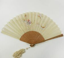 Antique 19th Century Chinese Carved Sandalwood Embroidered Silk Hand Fan