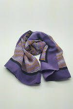*CARTIER* VINTAGE PURPLE AND BLACK SILK SCARF 33""