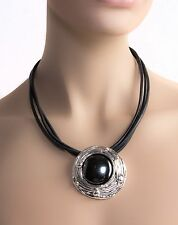 Bat-Ami Sterling Silver Grey Leather Cord Necklace w/ Hametite Pendant PS281