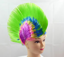 Green Mohawk Punk Kids Fancy Dress Wig Adults Party Cosplay Stag Do Novelty Wigs