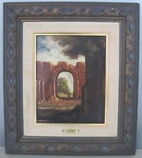 Vintage Oil Painting on Canvas Roman Ruins By Angela Carugati Carved Wood Frame