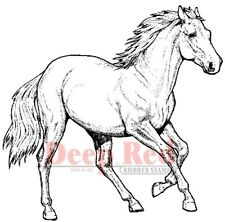 Deep Red Rubber Stamp Wild Stalion Horse Pony