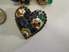 Hobe Heart Brooch Earrings Roses Blue Green Cobalt Jewelry Pin Clip Rhinestone
