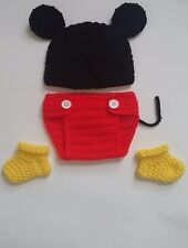 NEW Newborn Baby Mickey Mouse Hat Diaper Cover Booties Crochet Photo Prop